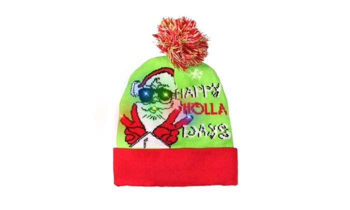 LED LightUp Knitted Ugly Sweater Happy Holla Days Christmas Beanie ... 4339c47419ac