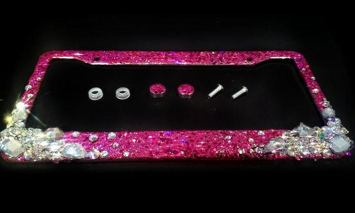 Pink Flower Design Diamond Rhinestones METAL License Plate Frame