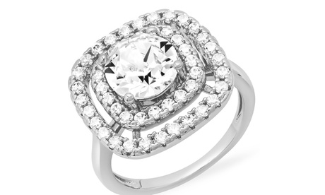 Steeltime Cushion Cut Crystal Double Halo Ring with Crystals from Swarovski