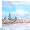 Tree in Winter Watercolor Landscape Metal Wall Art 28x12