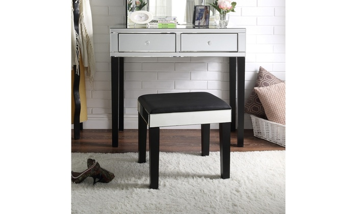 Portia Mirrored 2 Drawer Vanity Table Stool Set | Groupon