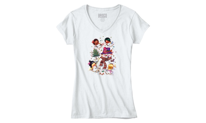 Cute Cheerful Christmas Angels and Snowman - Junior Fitted V-Neck T-Shirt