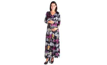 b575a391198 Shop Groupon 24seven Comfort Apparel Regal Blooms Floral Long Sleeve Maternity  Maxi Dress