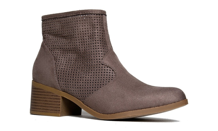 Women's Perforated Suede Ankle Booties