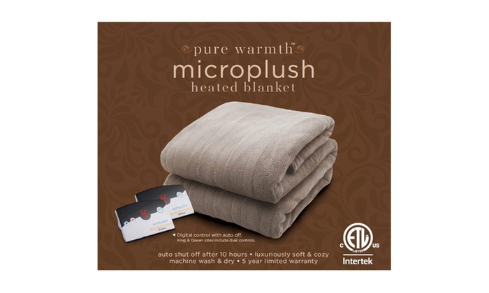 Pure Warmth By Biddeford Microplush Electric Heated Blanket Full Grey Groupon