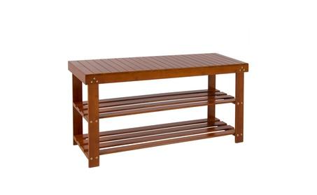 Bamboo Shoe Bench 2-Tier Boot Storage Racks Shelf Organizer, Brown 47420f20-1ff1-4433-9b52-04272a142bef