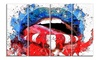 Red White and Blue LipsSensual Metal Wall Art 48x28 4 Panels