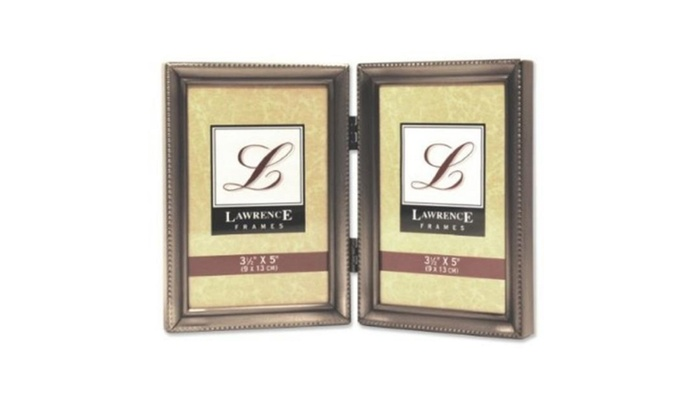 Lawrence Frames 11535d Antique Pewter Hinged Double 3x5 Picture