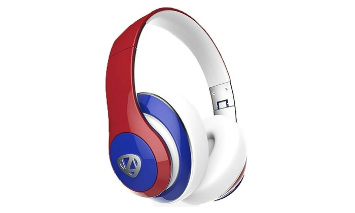 6e030fcf130 RadioShack Ncredible1 Bluetooth Headphones Blue/Red-Refurbish | Groupon