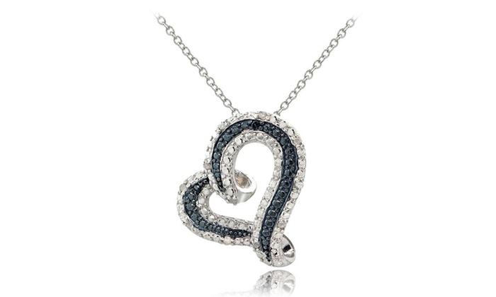 Sterling silver 18ct tdw blue white diamond floating heart sterling silver 18ct tdw blue white diamond floating heart pendant aloadofball Images