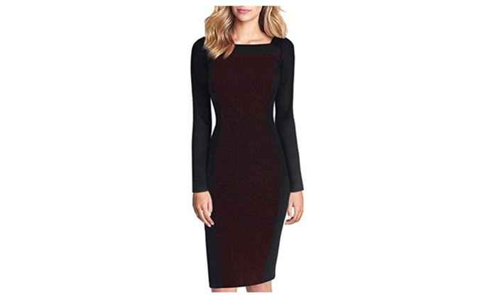 Women's Optical Illusion Square Neck Slimming Casual Dress