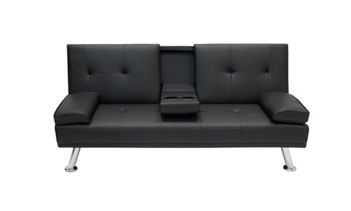 Futon Sofa Bed Fold Up Down Recliner Couch With Cup Holders Groupon
