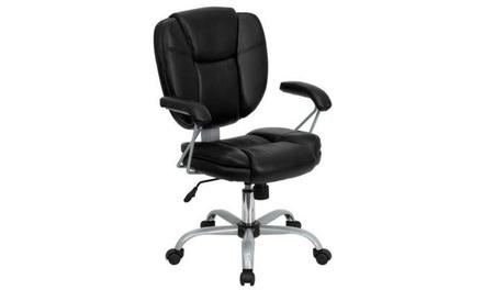 Flash Furniture GO-930-BK-GG Black Leather Computer Task Chair