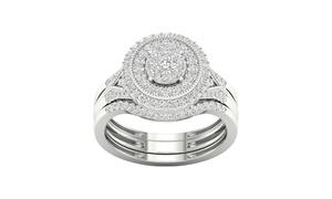 De Couer 10K Gold 1/2ct TDW Diamond Cluster Bridal Ring (I-J, I2)