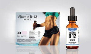 VitaPatch Vitamin B12 Patch and Premium Grade B12 Drops (1- or 2-Pack)