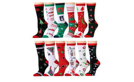 12 Pair excell Ladies Christmas Printed Holiday Socks, Sock Size 9-11 388b6793-3ba7-47ea-ba8b-271da8b7a9c7