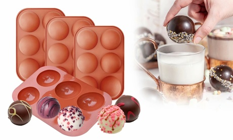 6 Holes Semi Sphere Chocolate Molds for Making Hot Chocolate Bombs, Cake, Jelly