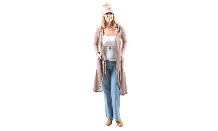 Xehar Women's Casual Lightweight Long Open Front Hooded Cardigan