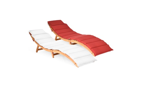 Costway Folding Wooden Outdoor Lounge Chair Chaise Double-sided Cushion