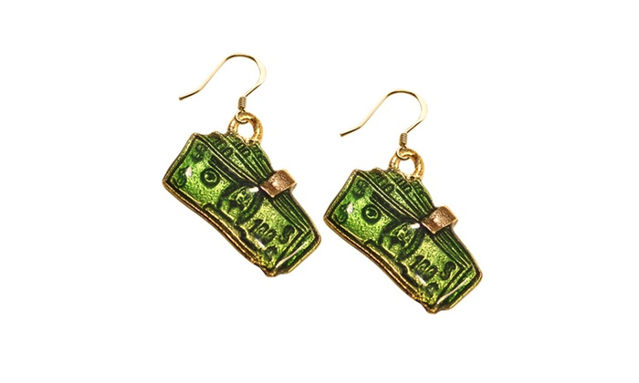 Clickhere2shop: Whimsical Money Clip with Money Charm Earrings In Gold
