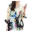 Women's Fashion Round Neck Loose Printed Knitted Blouse