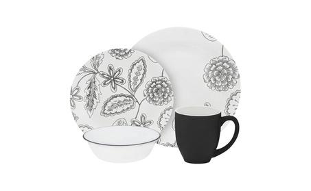 Corelle Vive 16 Piece Glass Reminisce Dinnerware Set, White 2a85b1cc-4334-454e-b667-6d3390934a61