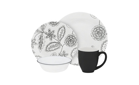 Corelle Vive 16 Piece Glass Reminisce Dinnerware Set, White