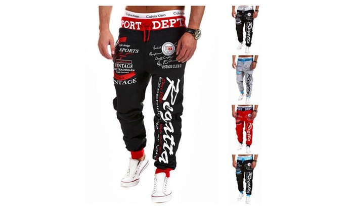 Men's Casual Loose Print Letter Bottom Closed Pockets Jogger Pants