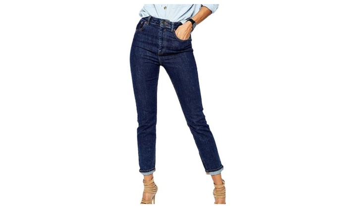 Women's Simple Casual Zip Up with Button Closure Jeans