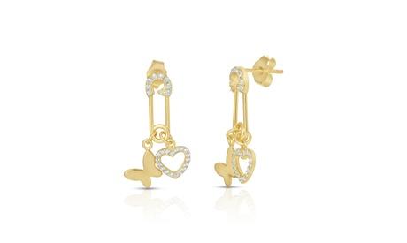 Crystal Pin Charm Drop Stud Earrings