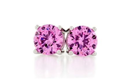 925 Sterling Silver Round Lab-Created Pink Sapphire Stud Earrings 3935258e-65e8-4fc8-9240-9e7efcc1926e