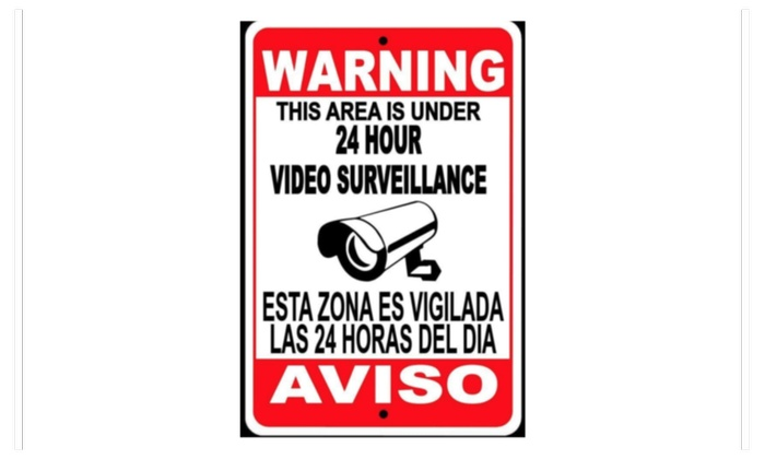 Warning Security 24 Hour Video Surveillance Camera Sign English/Spanis