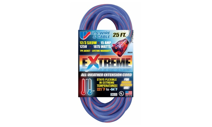 US Wire 25-Foot TPE Cold Weather Extension Cord Blue w/ Lighted Plug