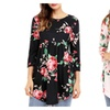Women 3/4 Ruffle Detailed Sleeve Floral Blouses