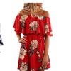 Women Sexy A-Line Floral Print Lace Waist Summer Beach Dress
