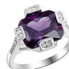 Silver Plated Wedding Square Purple Paved CZ Diamond Big Ring(8)