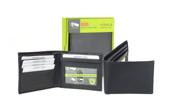 Genuine Leather Bifold Wallet Men/'s Black With Gift Box New