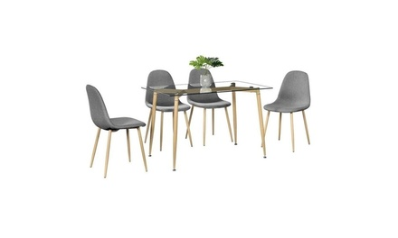 4Pcs Wood Chairs for for Kitchen, Dining Room, Bedroom,Gray