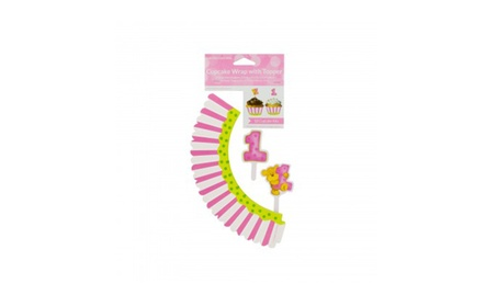 Girl's First Birthday Cupcake Wraps & Toppers 0974c4d7-34ff-4c34-8875-b363b2ae7a9c