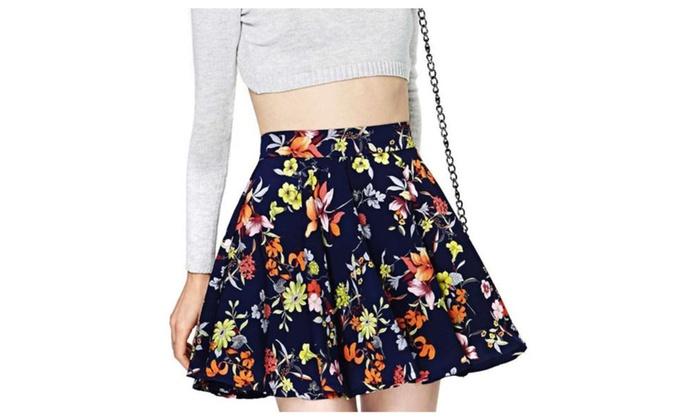 Women's Asymmetric Hem BackZipper Printed Casual Skirts