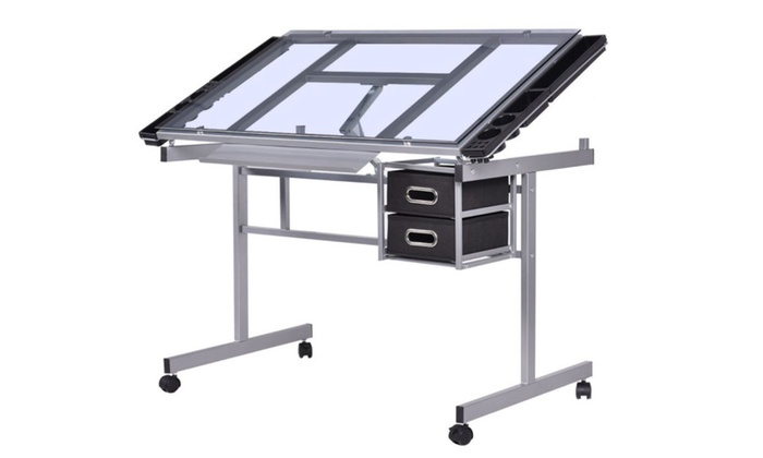 Drawing Desk Adjusting Drafting Table Tempered Glass With Drawers Art