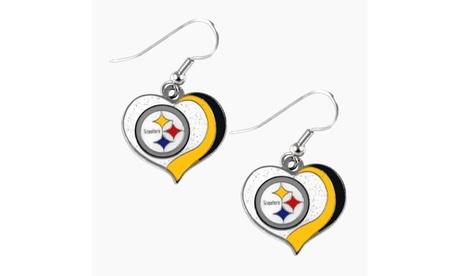 Pittsburgh Steelers NFL Glitter Heart Earring Swirl Charm Set 58f816af-c1fb-4c17-88c6-f9a8ace7e229