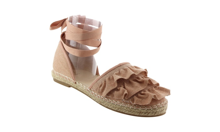 Beston FK46 Women's Lace Up Ruched D'orsay flat Espadrille Sandals