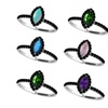 Pure Solid Silver Ring Natural Gemstone 3.5x7mm Cut Marquise Gemstone