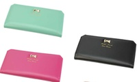 Women's  Leather Bowknot Clutch Wallet Long Card Holder Purse (kobzone) photo