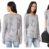 Terez Women's Elephant Burnout Long Sleeve Top, Grey-Trunks Up