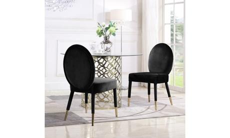 Beverely Dining Chair Velvet Upholstered Oval Back Armless Design (Set of 2)