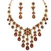 Pear-Cut Butterscotch Lucite Flowers Jewelry Set