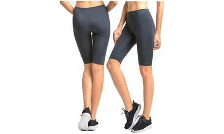 2 Pack Women's Seamless Stretch Yoga Exercise Shorts 872c3f84-2d6e-4086-8b38-454ccc7f4fe0