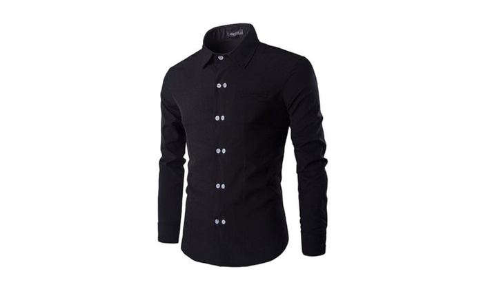 Men's Casual Solid Fashion Long Sleeve Regular Fit Shirt